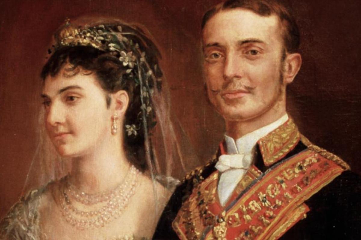 Kráľ Alfonso XII s manželkou María de las Mercedes de Orleans