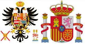 Štátny znak Španielskeho kráľovstva - vľavo za vlády Karola I., vpravo súčasnosť